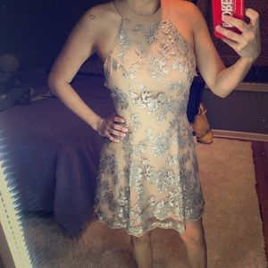Dress The Population nude and silver sequin dress